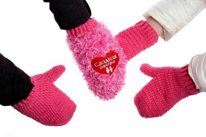 Варежки для двоих «Сладкая парочка» сердечки купить Минск