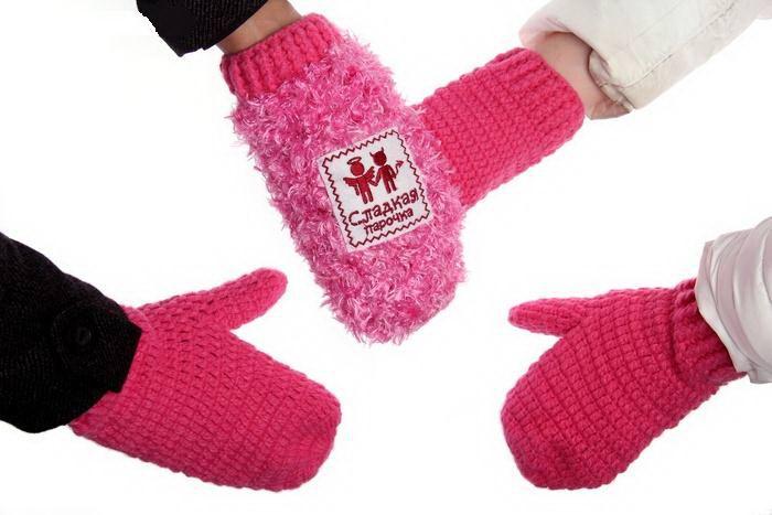 Варежки для двоих «Сладкая парочка»  сердечки купить Минск +375447651009
