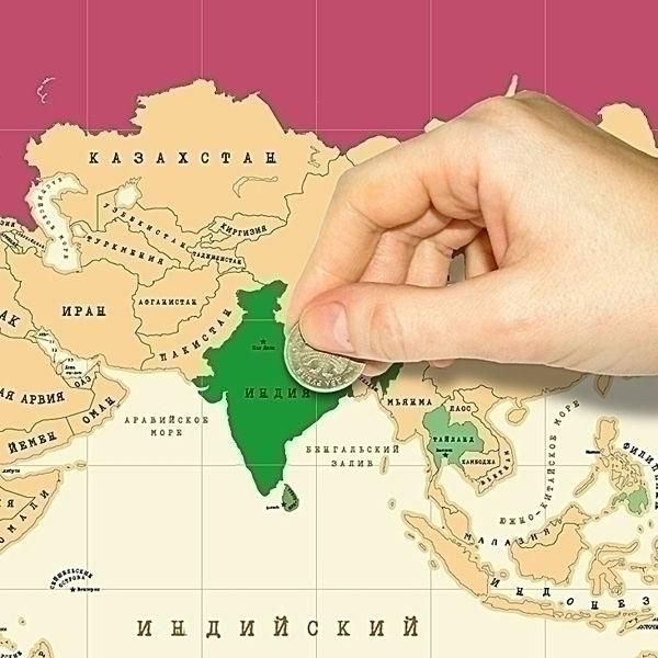 Скретч карта мира со стирающимся слоем в тубусе