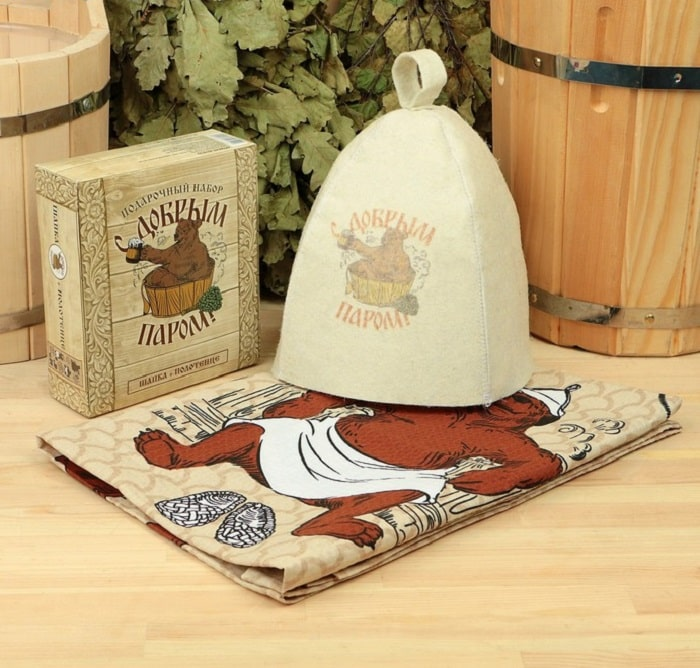 Банный набор «С добрым паром» полотенце, шапка купить в Минске +375447651009
