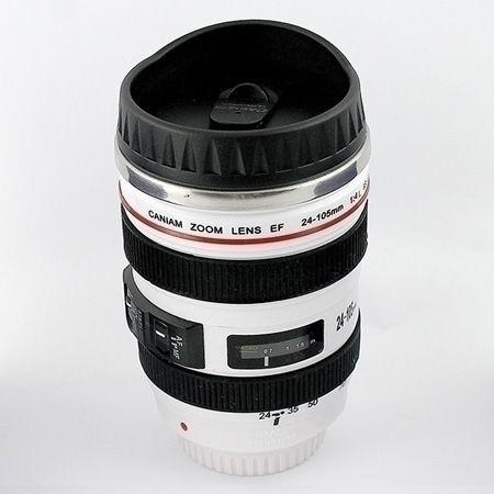 Термостакан  в виде объектива от фотоаппарата 3 белый Минск +375447651009
