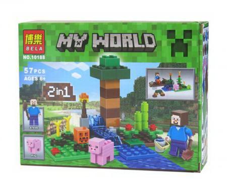 Конструктор Minecraft «Стив и Поросенок» 57 деталей купить Минск +375447651009
