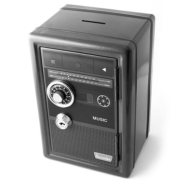 Копилка сейф с ключом «Ретро радио» черная купить Минск