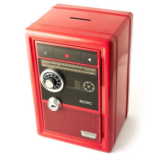 Копилка сейф с ключом «Ретро радио» красная купить Минск