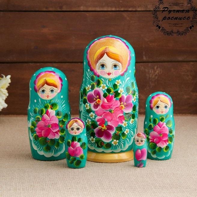 Матрешка «Василиса» бирюза 5 кукол купить в Минске +375447651009