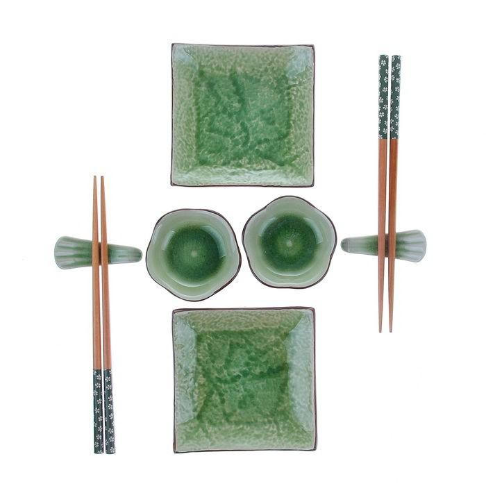 набор для суши зеленый узор купить