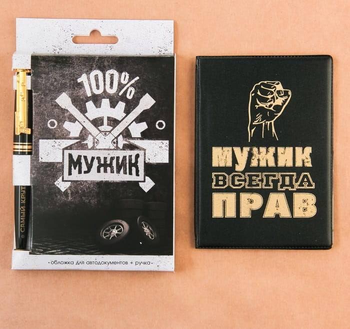 Набор: обложка на автодокументы+ручка '100% мужик' купить