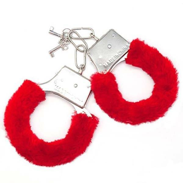 Наручники меховые красные в коробке купить