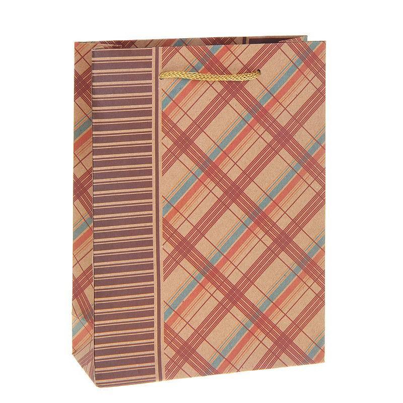 Подарочный пакет крафт «Клетка» Минск +375447651009