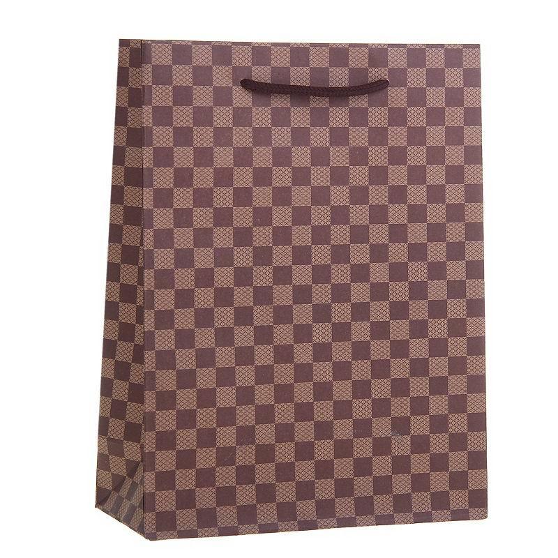 Подарочный пакет крафт «Коричневая клетка» купить Минск