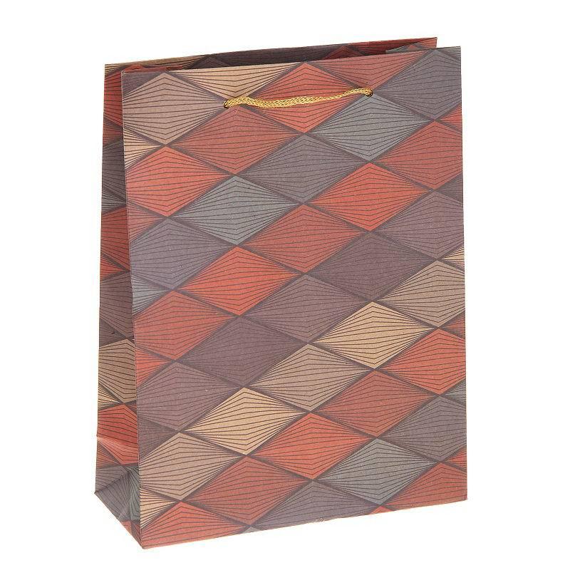 Подарочный пакет крафт «Цветные ромбы» купить Минск