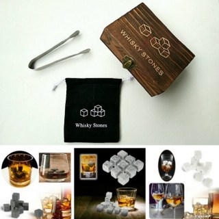 Камни для виски «WS» 9 штук со щипцами в деревянной шкатулке Минск +375447651009