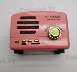 Беспроводная музыкальная колонка «Ретро радио» bto1 розовая купить в Минске +375447651009