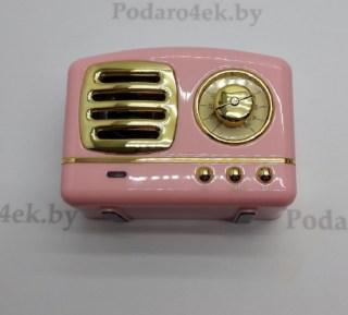 Беспроводная музыкальная колонка «Ретро радио» розовая купить в Минске +375447651009