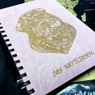 Блокнот в деревянной обложке «Бульдог» + ручка Минск +375447651009