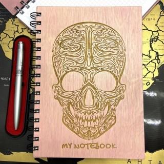 Блокнот в деревянной обложке «Череп» + ручка Минск +375447651009