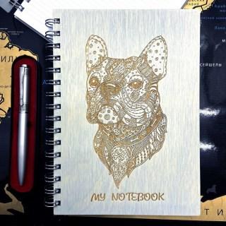 Блокнот в деревянной обложке «Французский бульдог» + ручка Минск +375447651009