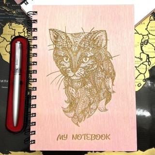 Блокнот в деревянной обложке «Котик» + ручка Минск +375447651009