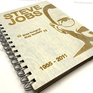 Блокнот в деревянной обложке «STIVE JOBS» Минск +375447651009