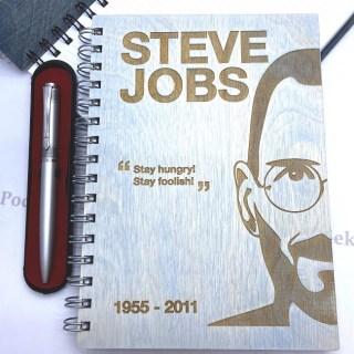 Блокнот в деревянной обложке «STIVE JOBS» + ручка Минск +375447651009