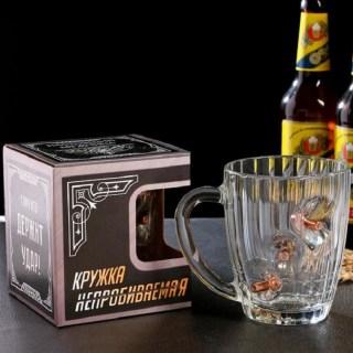 Бокал для пива с пулями «Непробиваемый» 500 мл в Минске +375447651009
