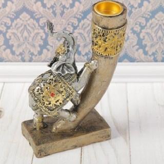 Декоративный подсвечник «Слон в золотой попоне» купить в Минске +375447651009