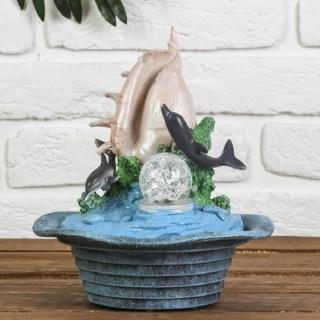 Фонтан декоративный «Ракушка и дельфины» с подсветкой купить Минск +375447651009