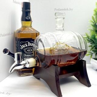 Графин - декантер «Корабль в глобусе» на деревянной подставке купить Минск +375447651009