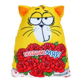 Игрушка-антистресс  «Поздравмяу!» в цветы купить