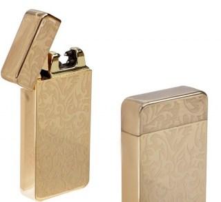 Импульсно-дуговая зажигалка USB «Орнамент» золотистая Минск +375447651009