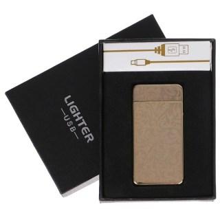 Импульсно-дуговая зажигалка USB «Арнамент» золотистая Минск +375447651009