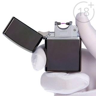 Импульсно-дуговая зажигалка USB черный хром Минск +375447651009
