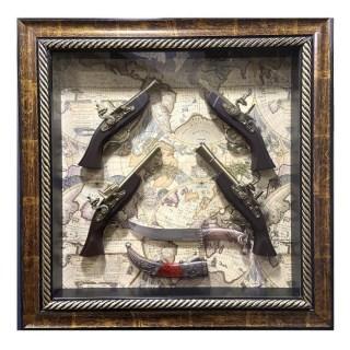 Картина с сувенирным оружием на карте мира «Оружие и кинжал» купить в Минске +375447651009