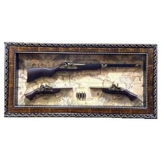 Картина с сувенирным оружием на карте мира «Три ствола» купить в Минске +375447651009