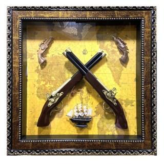 Картина с сувенирным оружием на карте мира «ВИД 2» купить в Минске +375447651009