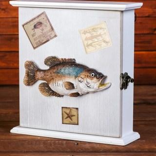 Ключница настенная деревянная «Рыба» на 6 крючков купить в Минске +375447651009
