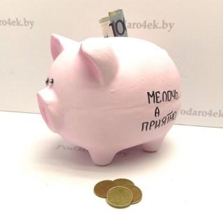 Копилка-свинка для монет «Мелочь, а приятно» купить в Минске +375447651009