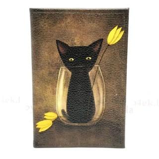 Обложка на паспорт «Черная кошка» кожаная Минск +375447651009