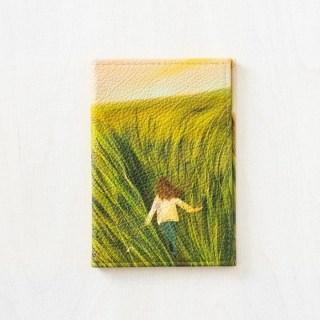 Кожаная обложка на паспорт «Девушка в поле» купить Минск +375447651009