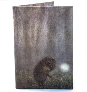 Кожаная обложка на паспорт «Ёжик в тумане» Минск