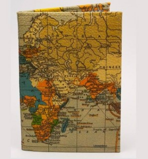 Кожаная обложка на паспорт «Карта мира» Минск