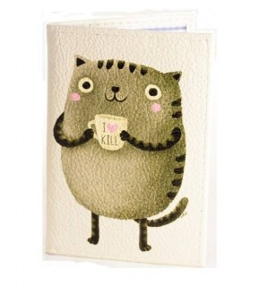 Купить кожаная обложка для паспорта «Котик»