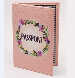 Обложка на паспорт из натуральной кожи «Passport» розовая Минск
