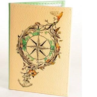 Кожаная обложка на паспорт «Стороны света» купить Минск