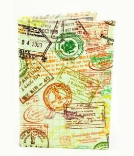 Кожаная обложка на паспорт «Цветные штампы» Минск