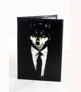 Кожаная обложка на паспорт «Волк» черная Минск