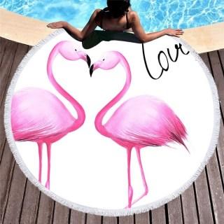 Круглый пляжный коврик «Flamingo Love» купить Минск +375447651009