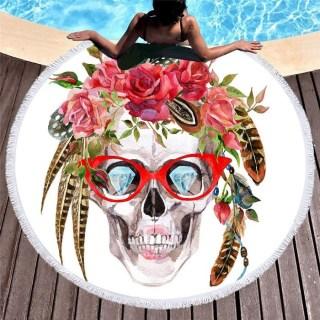 Круглый пляжный коврик «Гламурный череп» купить Минск +375447651009