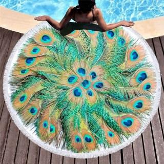 Круглый пляжный коврик «Перья павлина» купить Минск +375447651009