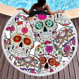Круглый пляжный коврик «Цветочные черепа» купить Минск +375447651009